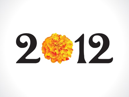 marigold: abstract flower based new year text vector illustration Illustration