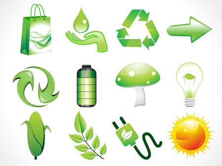 abstract shiny eco icons set vector illustration Vector