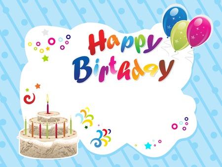 birthday backdrop: abstract happy birthday template illustration Illustration