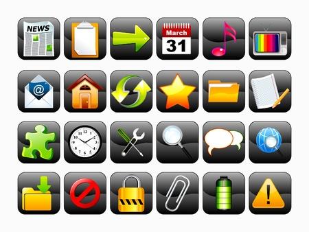 button batteries: abstract shiny web icon set illustration Illustration