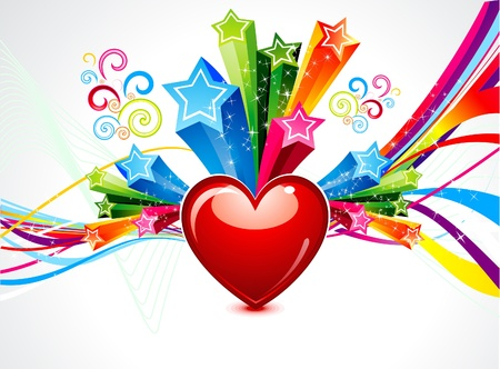 love explode: abstract colorful heart explode illustration