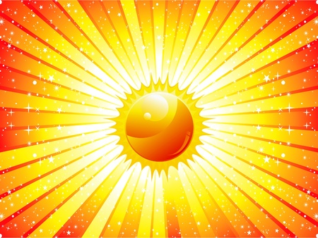 abstract sunbeam background with sun illustration