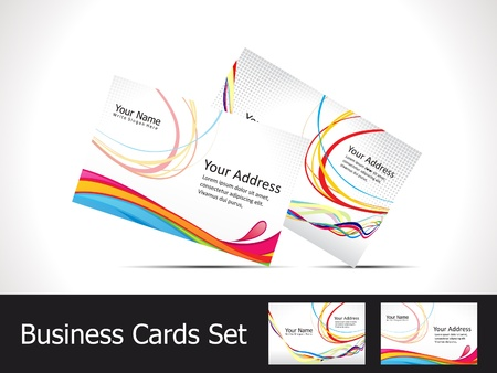 visiting card design: abstract colorful rainbow business card template vector illustration