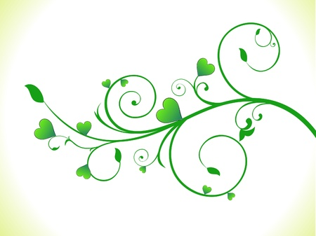 abstract green eco heart plant vector illusration