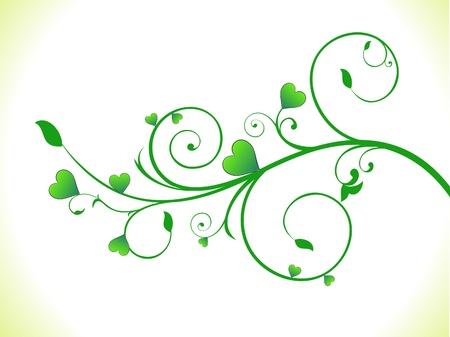 abstract green eco heart plant vector illusration
