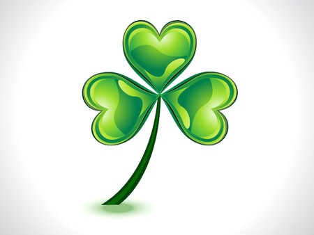 abstract green shiny st patrick clover vector illustration Vector