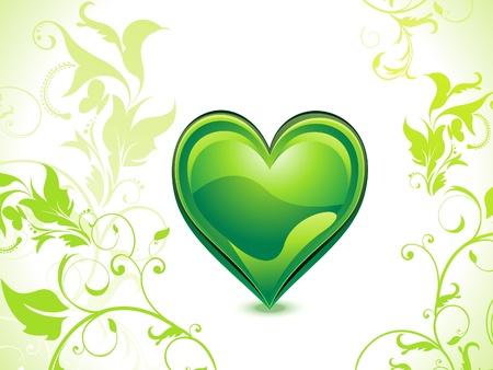 abstract green eco heart vector illusration Vector