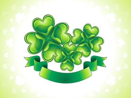 four leafed: abstract st patrick clover with ribbon banner vector illustration