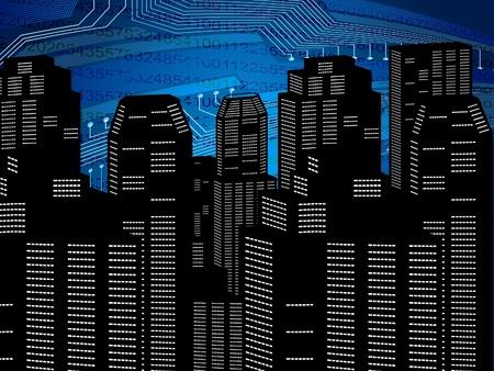 ciudad digital abstracto de fondo ilustración vectorial Ilustración de vector