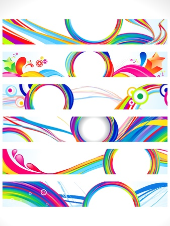 abstract multiple colorful web banners vector illustration