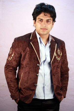 indian male: yong indian male model wearing casual suit