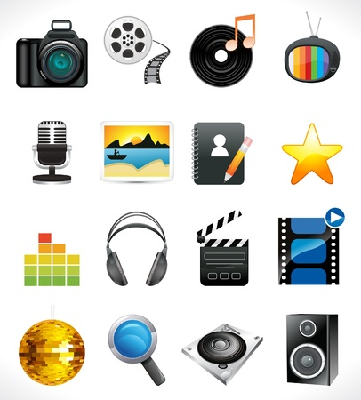 film role: abstract multiple media icon set vector illustration Illustration