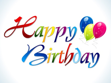 abstract colorful happy birthday text vector illustration