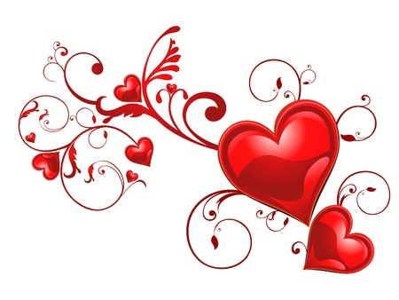 romantic heart: abstract floral heart background vector illustration