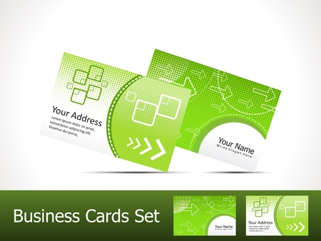 visiting card design: abstract green business card template vector illustration
