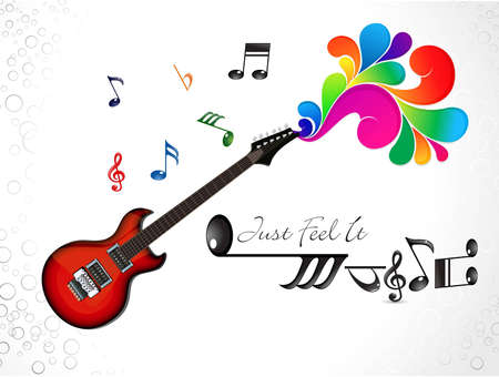 rainbow music: abstract colorful musical guitar background vector illustration