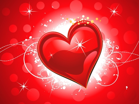 abstract shiny red heart wallpaper Stock Vector - 12491095