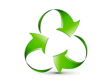 recycle icon: abstract creative glossy recycle icon vector illustration