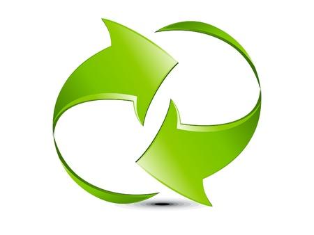 flechas: abstracto verde brillante refresco icono ilustración vectorial