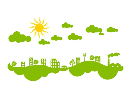 polution: abstract creative green eco city climate vector illustration