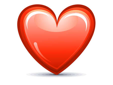 modernffection: abstract red shiny heart icon vector illustration