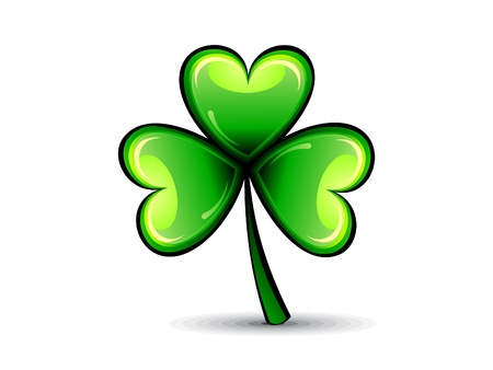 four leafed: abstract st patrick green shiny clover vector illustration Illustration
