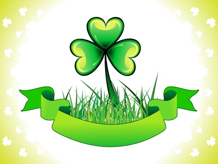 reflaction: abstract st patrick clover with grass  vector illustration