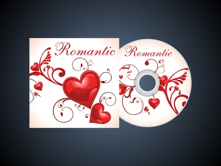 cd label: abstract romantic cd template vector illustration