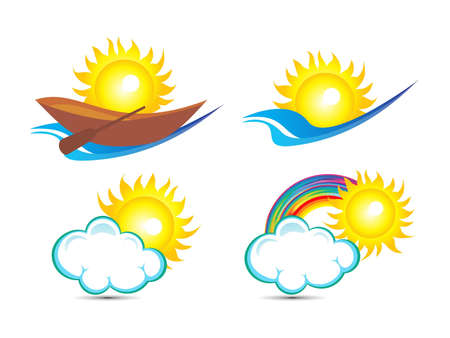 abstract multiple sun based logo template vector illustration Vector