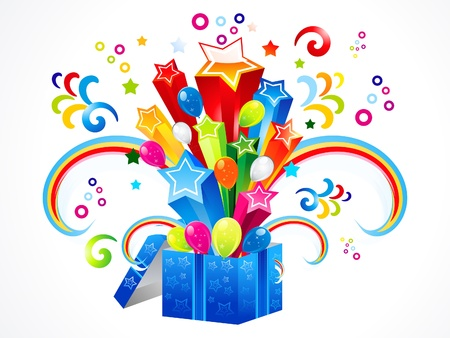 abstract colorful magic box explode vector illustration
