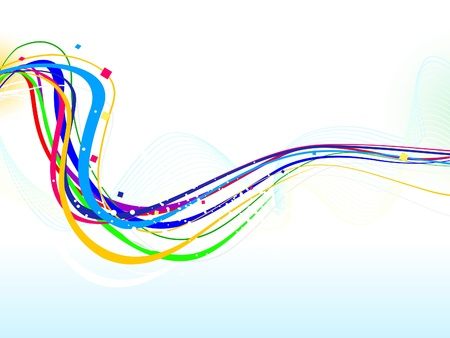 abstract colorful line wave background vector illustration  イラスト・ベクター素材