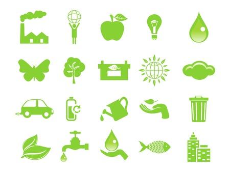 ahorrar agua: resumen de los iconos de color verde ecol�gico ilustraci�n vectorial Vectores