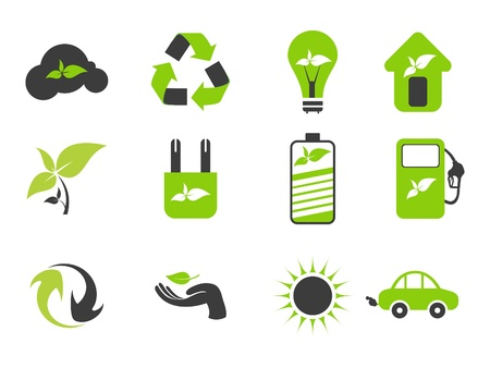 abstract black and green eco icons illustration Vector