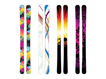 snowboarding: abstract colorful skies template illustration