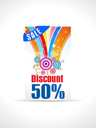 anniversary sale:  abstract fifty percent discount card template vector illustration