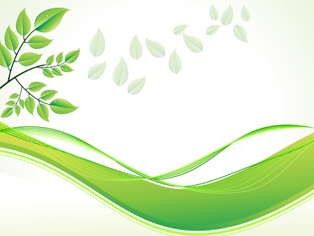 abstract green foliage with wave vector illustration