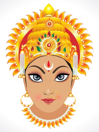 abstract goddess durga face illustration Vector