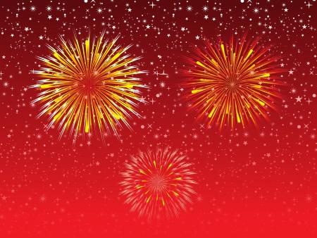 works: abstract night sky explode firework illustration