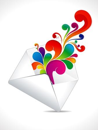 email us: astratto posta colorato esplodere illustrazione Vettoriali