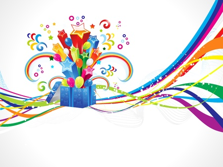 birthday banner: abstract colorful wave with magic box