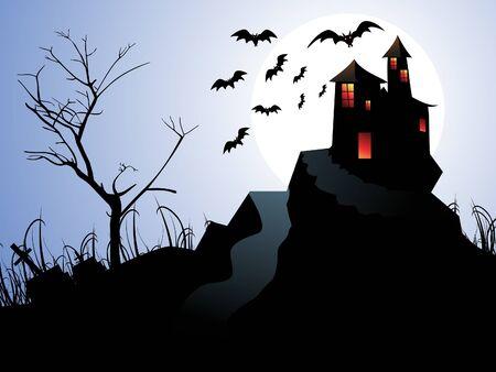 mansion: abstract halloween background illustration Illustration