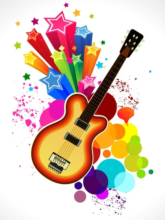 rainbow print: abstract colorful guitar background