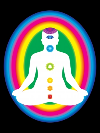 holistic health: colorful aura with all chakras of body vector illustration