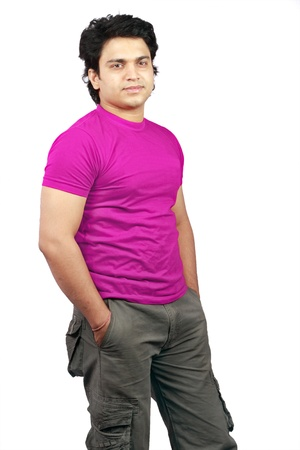 agrassive: yong indian male model wearing red t-shirt and jeans