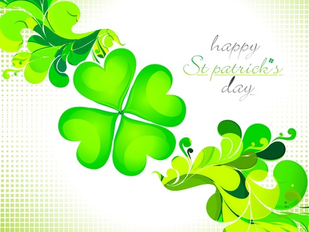 four leafed clover: abstract St Patrick theme background illustration Illustration