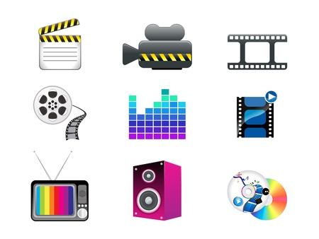 abstract media icon set vector illustration Stock Vector - 17132634