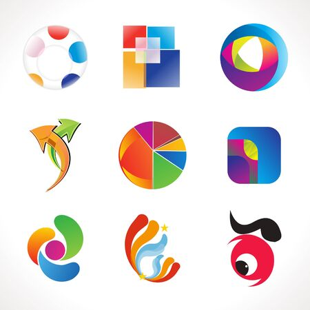 abstract multiple colorful business icons template vector illustration Illustration