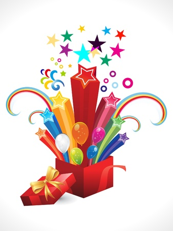 open present: abstract colorful magic box explode vector illustration