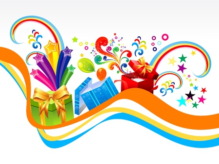 birthday backdrop: abstract gift wave background illustration