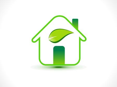 eco building: abstract eco home icon vector illustration